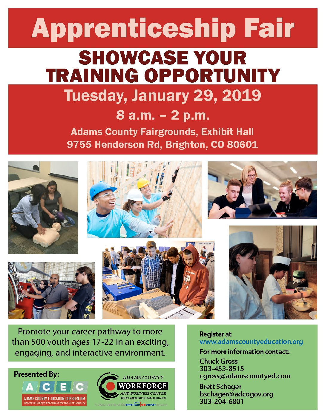 Tuesday, January 29, 2019 Apprenticeship Fair Showcase Your Training Opportunity