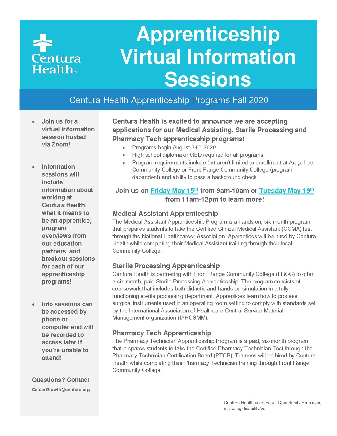 Friday May 15th & Tuesday May 19th Centura Health Apprenticeship Virtual Info Session