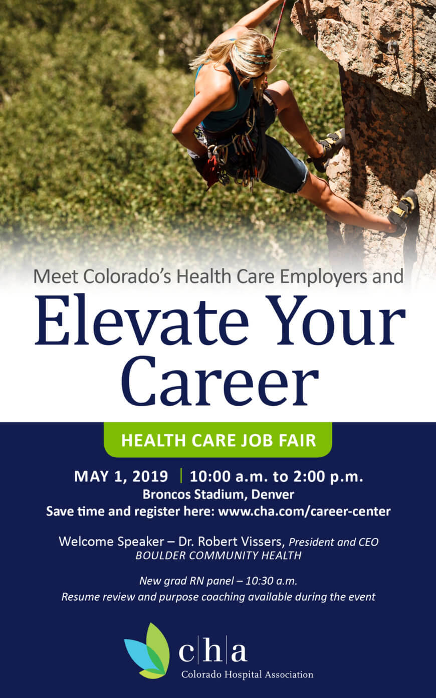 Join us for the CHA Healthcare Job Fair on May 1, 2019 from 10 – 2pm