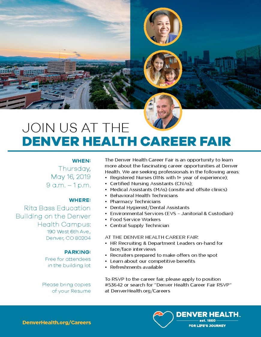 Join us for the Denver Health Career Fair on Thursday, May 16, 2019 9-1pm