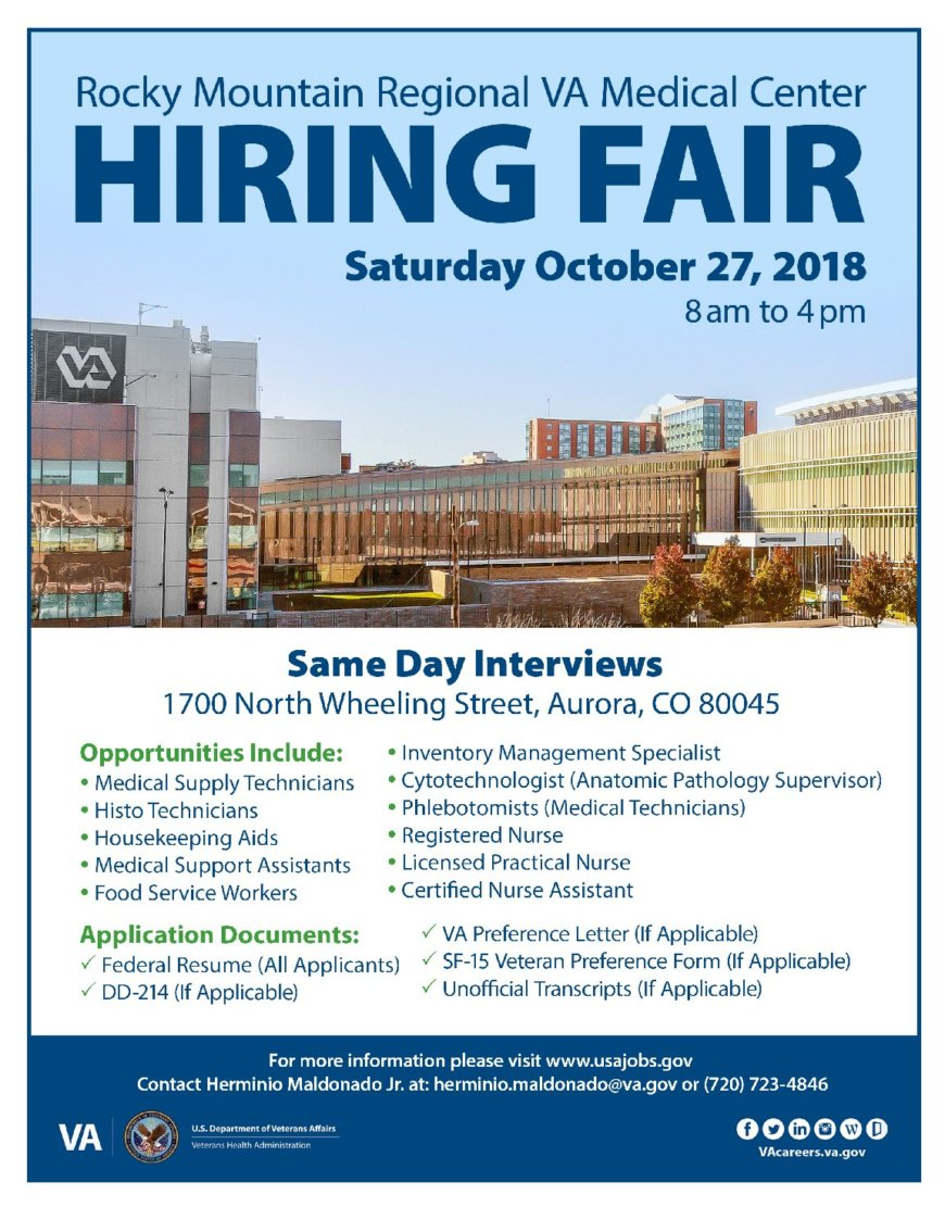 Rocky Mountain Regional VA Medical Center Hiring Fair Saturday October 27