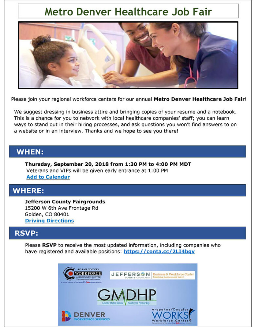 Register Now: Annual Metro Denver Healthcare Job Fair
