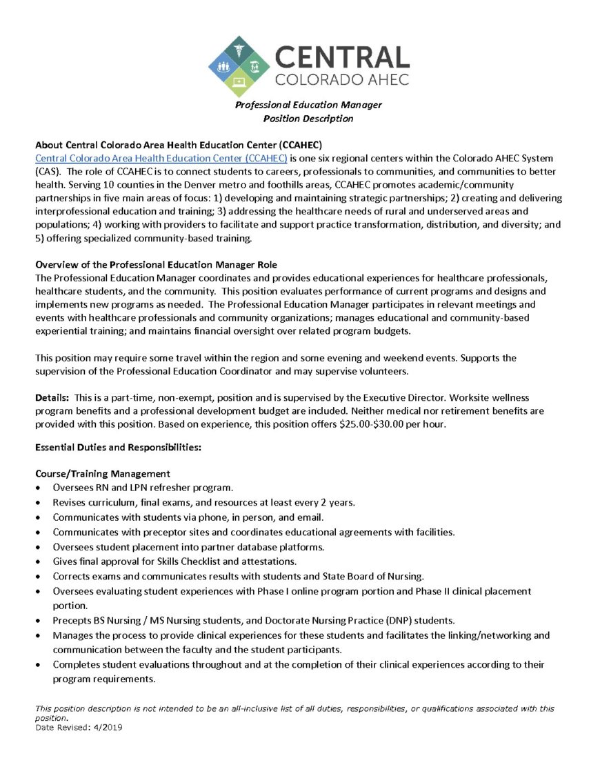 Professional Education Manager Position